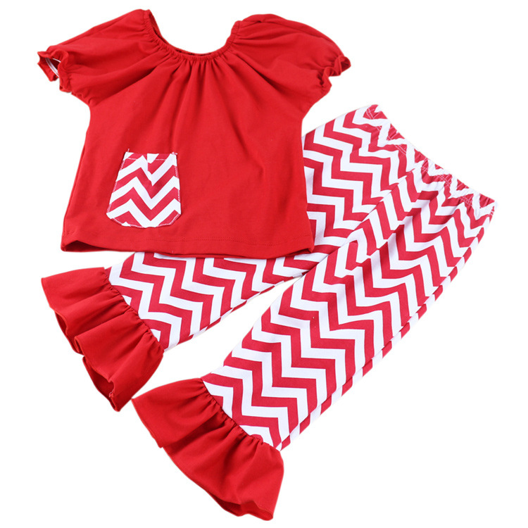 hot sale childrens clothing sets short-sleeved summer baby suit ruffle bib top and shorts outfit for children
