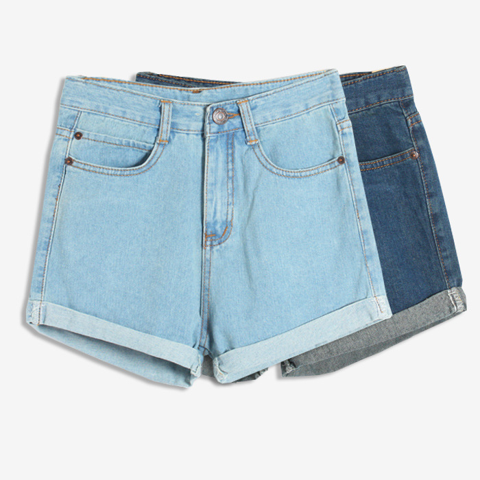 3ad8113d416 Get Quotations · Shorts Feminino 2015 Summer New Korean Style High Waist  Short Jeans Streetwear Women Sexy Vintage Cuff