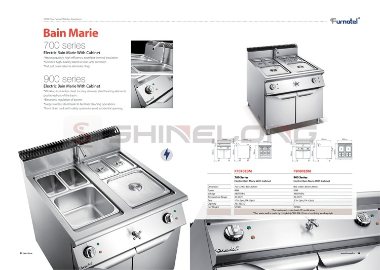 FURNOTEL 900 Series Gas/Electric Cooking Range Commercial Stainless Steel Fabricated Kitchen Equipment