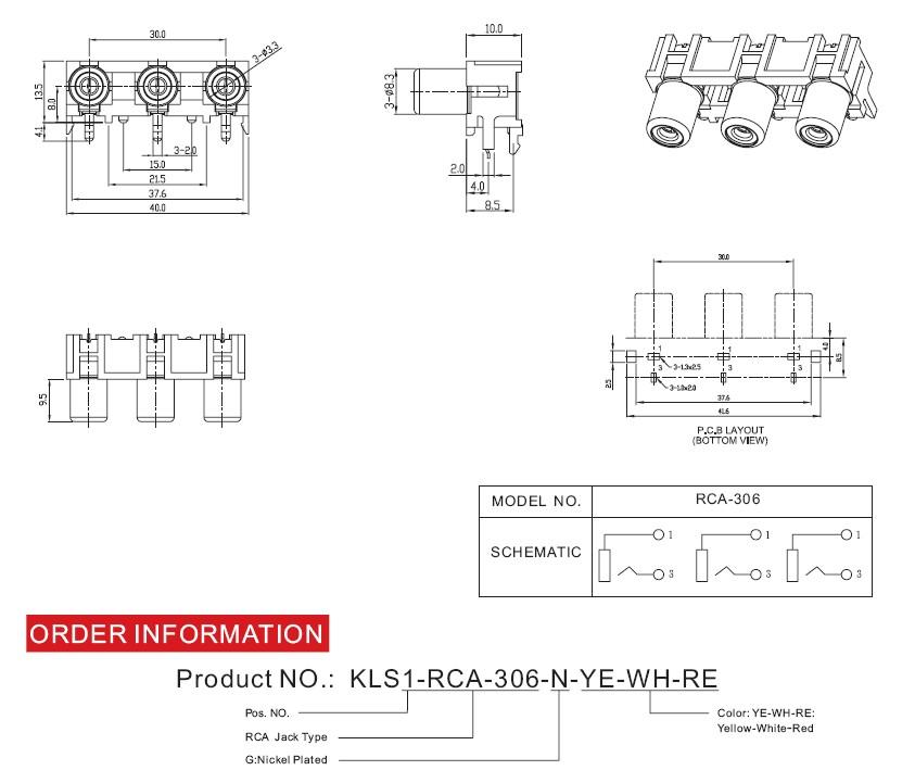 Buona qualità 055 KLS marca mtiple RCA av connettore