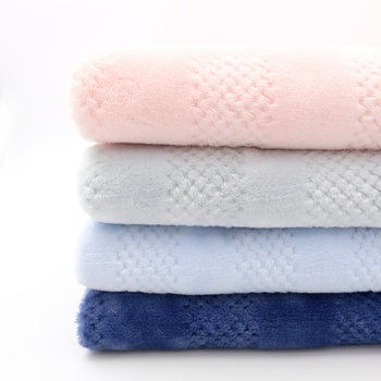 Hot Sale Solid Waffle Weave 100% Polyester 2 Side Brushed Jacquard Flannel Fleece Fabric