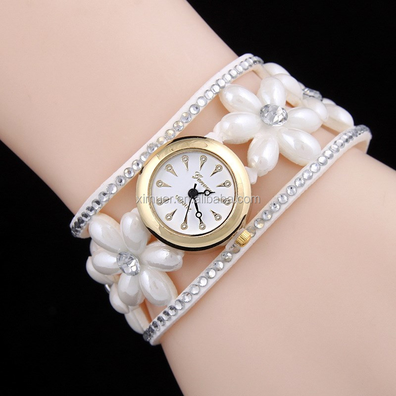 Latest Wholesale Colorful Pearl Wrist Watch Hand Watch For Girl ...