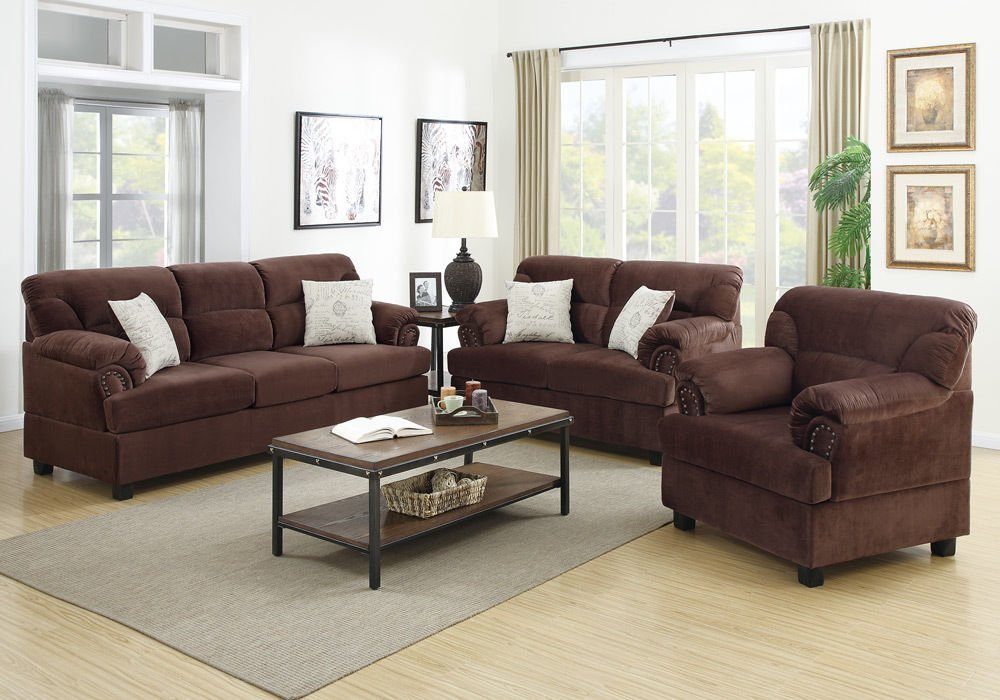 Get Quotations · 1PerfectChoice Luxury 3 Pcs Sofa Loveseat Chair Set Stud  Trim Arms Plush Microfiber Chocolate