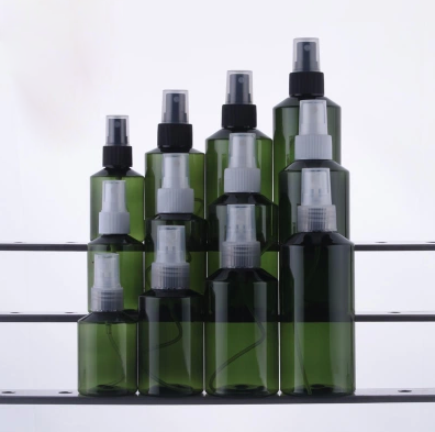 PET cosmetic empty 100ml plastic bottle matte black pump spray bottle plastic spray bottles