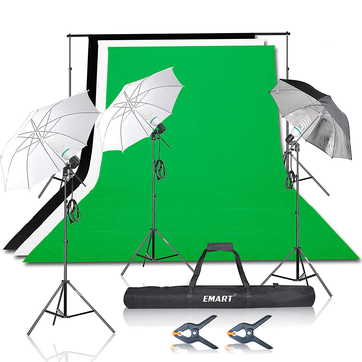 Emart 1500W Umbrella Continuous Lighting Kit with 7x10ft Background Support System for Photo Studio Product, Portrait and Video Shoot Photography