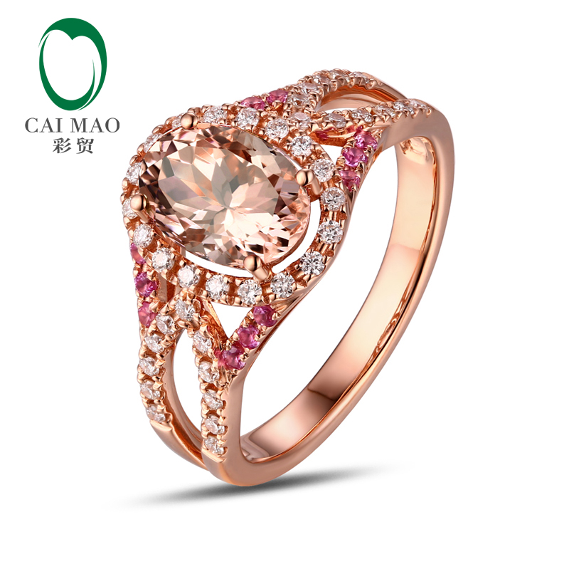 9X7MM Oval Cut Morganite and Pink Sapphire 14K Rose Gold Diamond Ring Jewelry