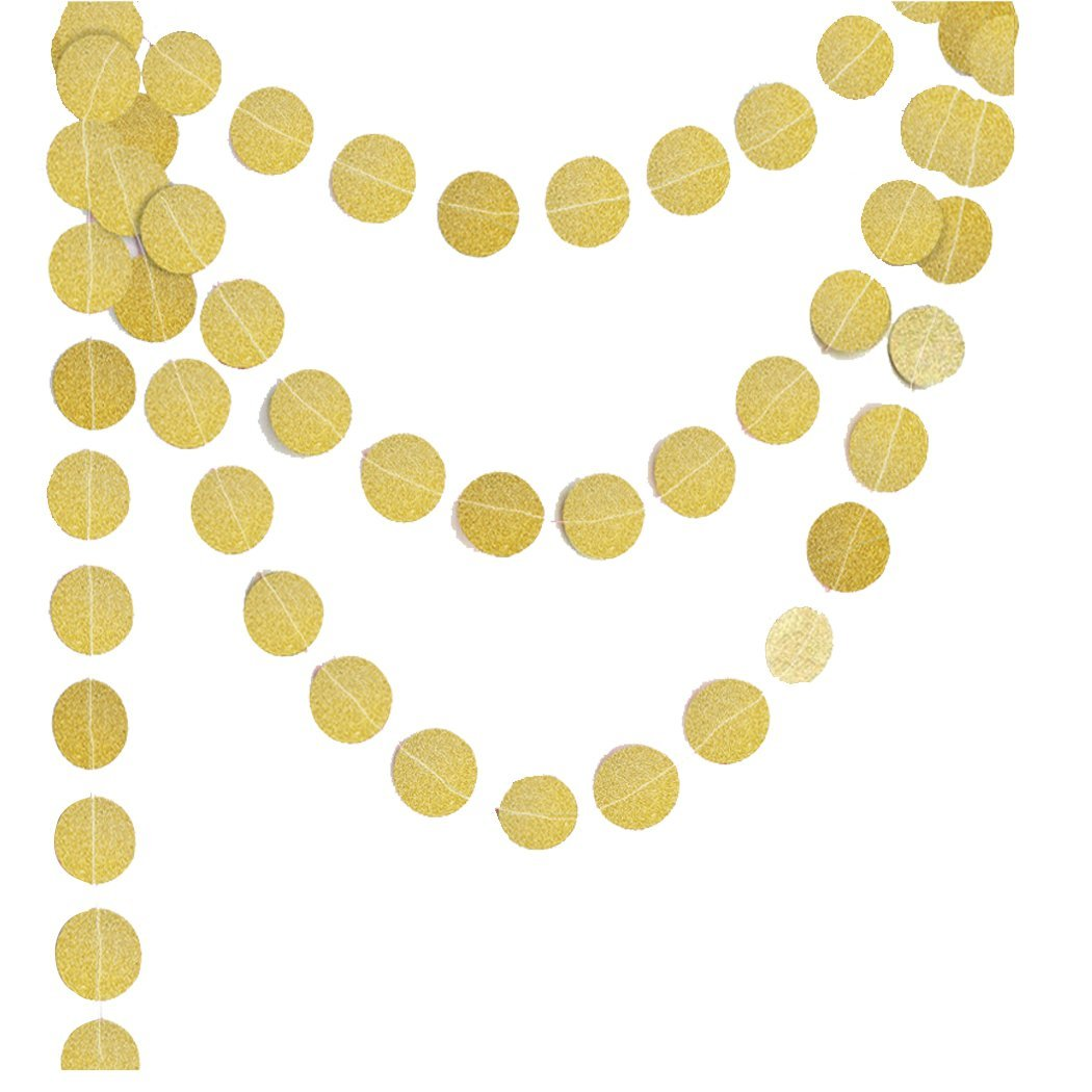 Faylapa 2 Pcs Christmas Banner Glitter Round Circle Paper Garland Banner Hanging Bunting String Decor for Christmas Party Wedding Birthday Baby Shower (4M,Gold)
