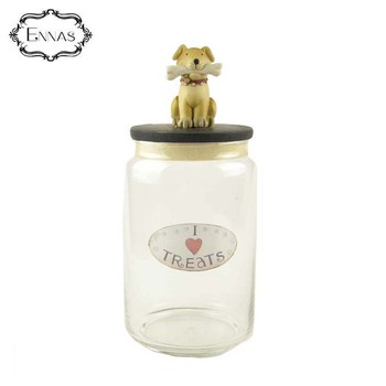 """I love snacks"" dog treats jar transparent resin food storage tank"