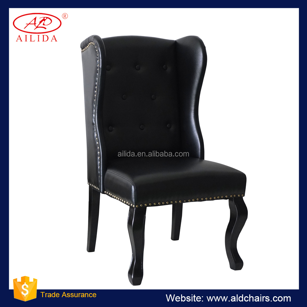 PC-150 French Style Antique Dining Chair With Black Wooden legs