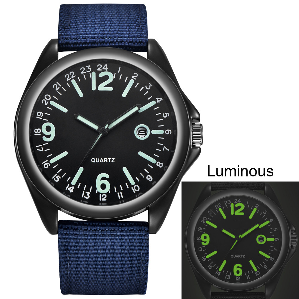 Glow in the Dark Watches Tops Brand Luxury Military Mens Clock Army Watch Black Dial Date Luxury Sport Luminous Wrist Watch