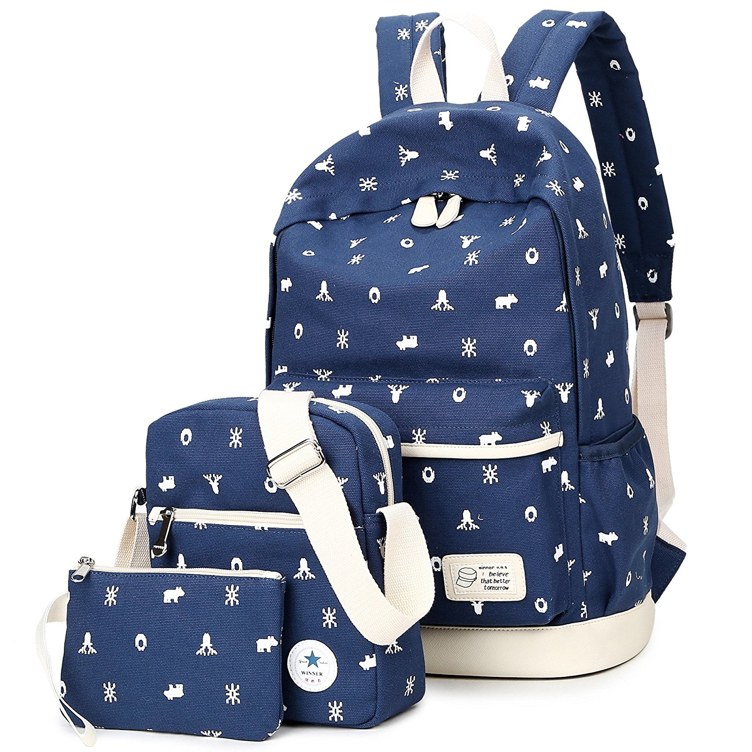 3b262809336 BLOOMSTAR Canvas Casual School Backpacks Bookbag Shoulder Laptop Bag 3 in 1  Set