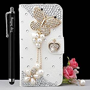 Top Selling (TM) Galaxy S6 Edge Case, White Luxury 3d Fashion Handmade Bling Crystal Rhinestone Pu Flip Wallet Leather Case Cover for Samsung Galaxy S6 Edge + Bonus Top Selling Logo Stylus [Pearl Butterfly] (Samsung Galaxy S6 Edge)