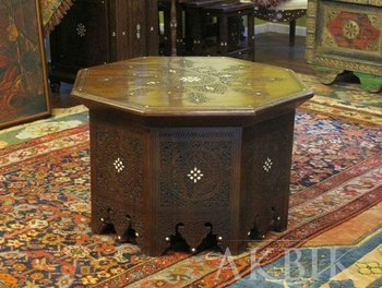 Octagon Moroccan, Middle Eastern Coffee Table Hand Carved On Solid Walnut  And Inlaid With Mother
