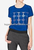 Short Sleeve Silk Blouse Top with Sheer Organza Panel