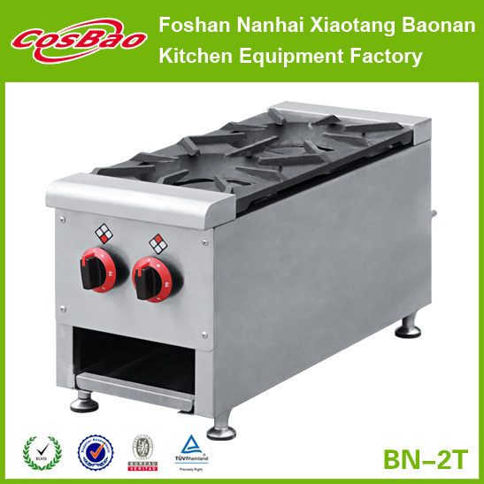 Industrial Restaurant Equipment Tabletop 2 Burners Gas Stove With Drip Tray (professional for commercial hotel kitchen projects)