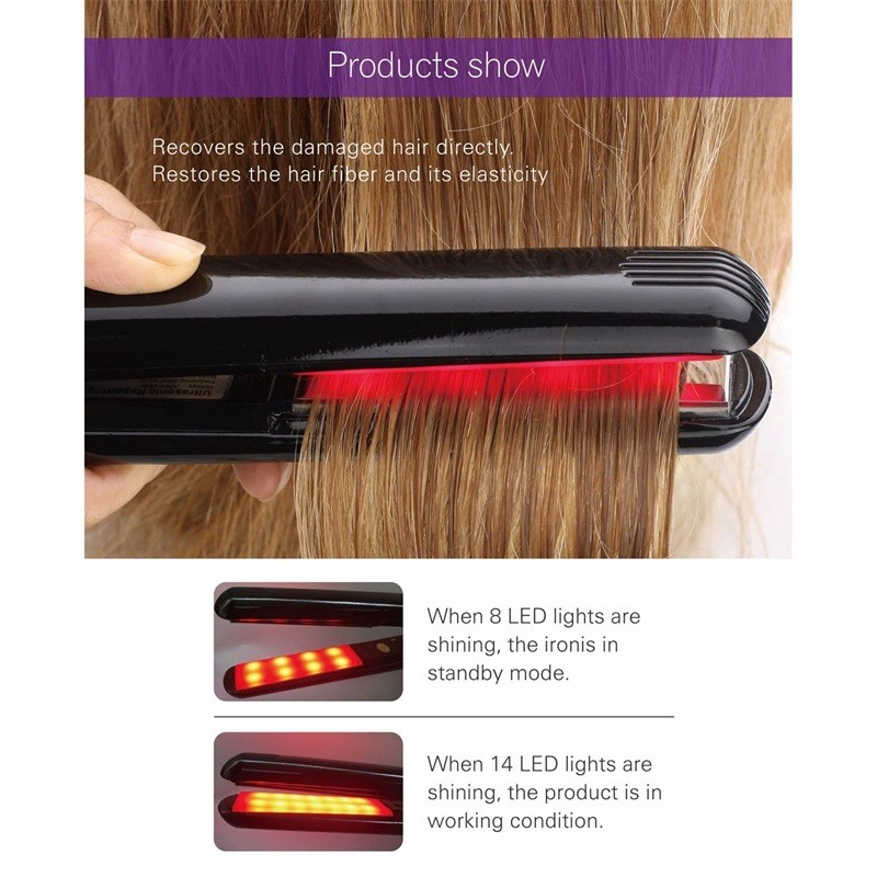 Professional Hair Care Iron Ultrasonic Infrared Hair Straightener without Heat