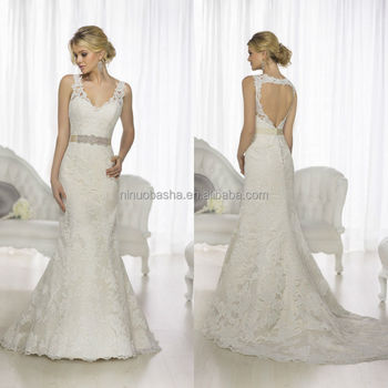 Exquisite 2015 Lace Mermaid Wedding Dress V-neck Keyhole Back Long ...