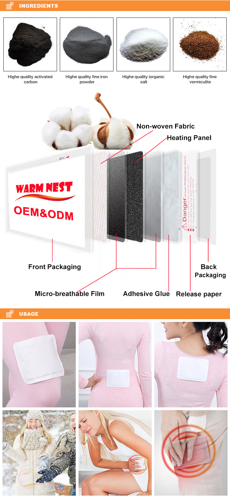 Adhesive Self Heat Menstrual Cramp Relief Body Warmer Patch