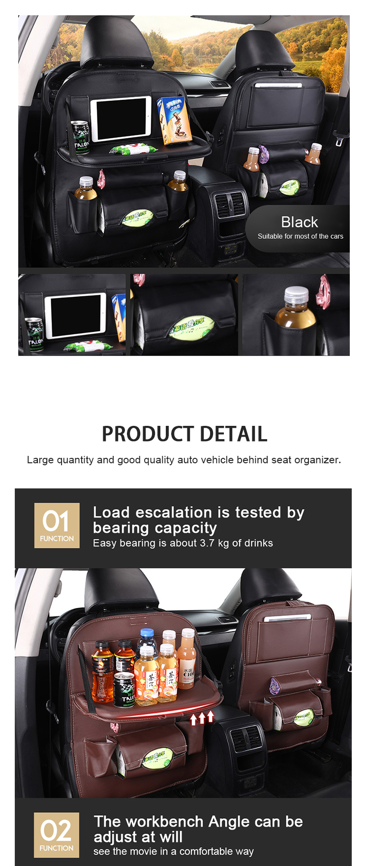 SN-Y-014 Hot sales best leather car back seat organiser with tray