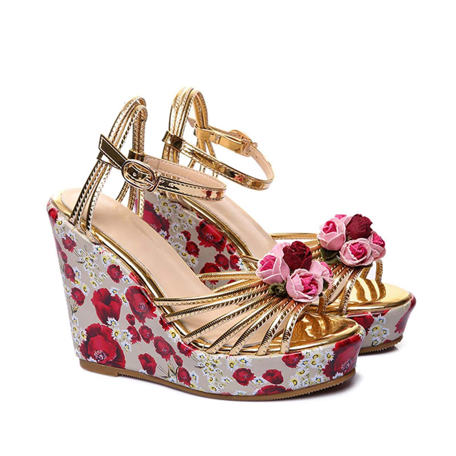 c26aa8ccd6e335 Get Quotations · Phoentin platform wedge sandals with flower printing ankle  buckle gold women shoes high heel 11cm leather