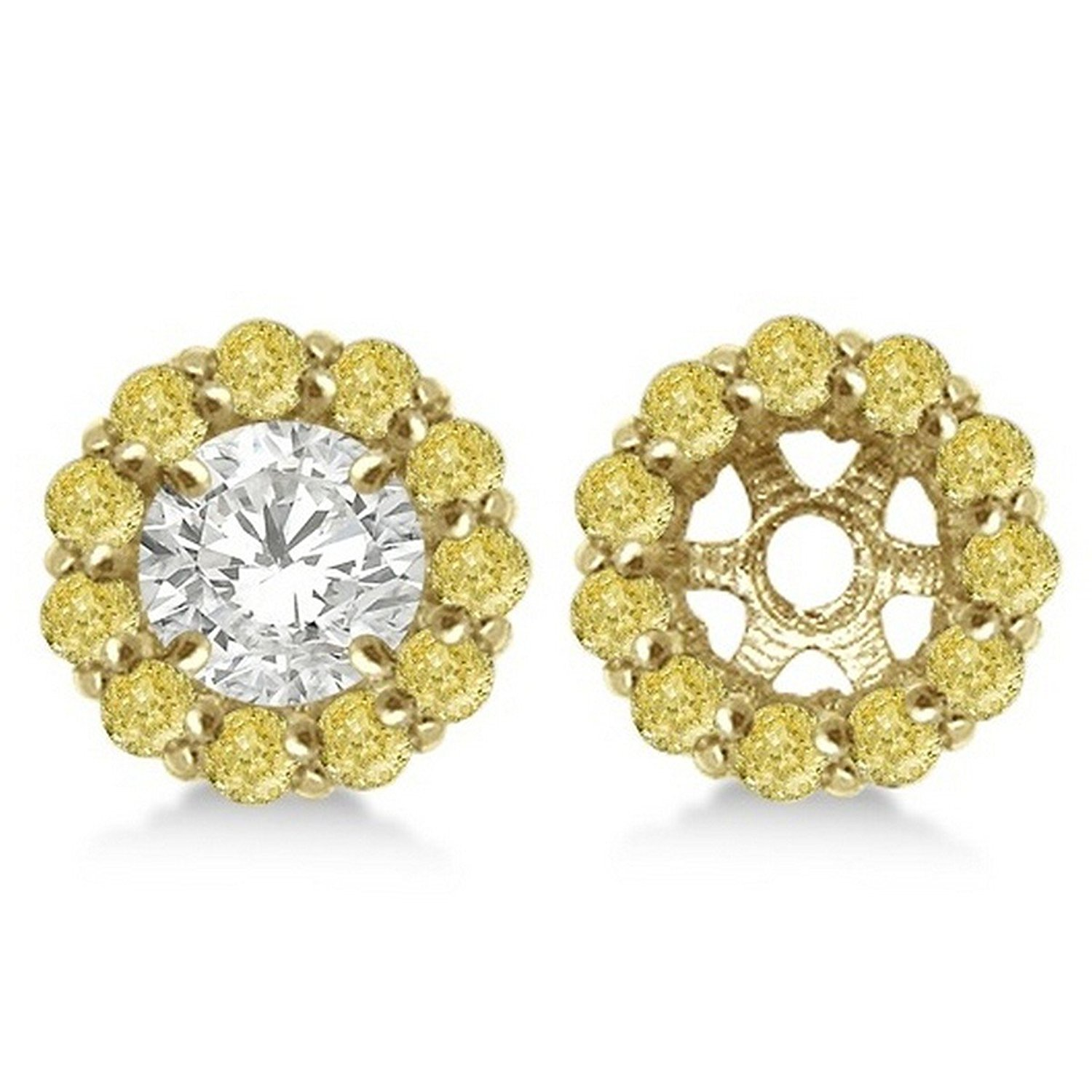fd0d0802d Get Quotations · 14k Gold Round Fancy Yellow Diamond Earring Jackets for  7mm Diamond Studs 0.90cw
