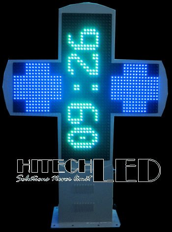 P20 BG COLOR LED CROSS,BI-COLOR DOUBLE SIDED LED PHARMACY DISPLAY