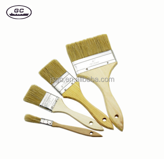 Wood Handle Wall Flat Paint Brushes with Customized Service