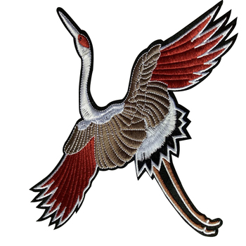 High quality special animal bird design woven patch for garment
