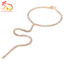 Light Gold Choker Necklaces Women Crystal Rhinestone Long Chain Pendant