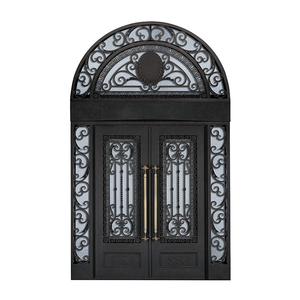 Villa decoration front entry double wrought iron arch door iron pipe door design