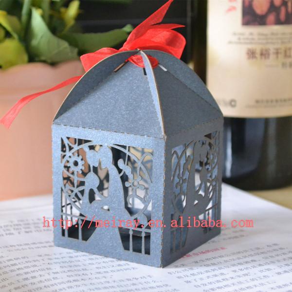 Laser Cut Royal Blue Wedding Favors Custom Paper Bag