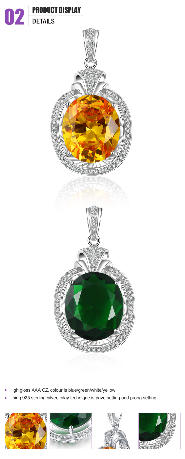 Fashion silver pave setting cz yellow or green faceted stone jewelry