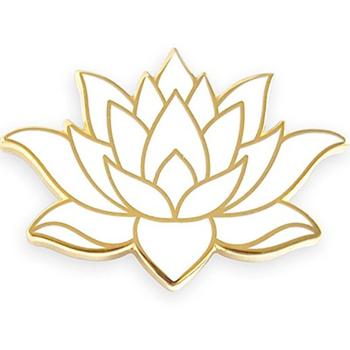 Hot Selling Custom White Lotus Flower Shape Hard Enamel Lapel Pins