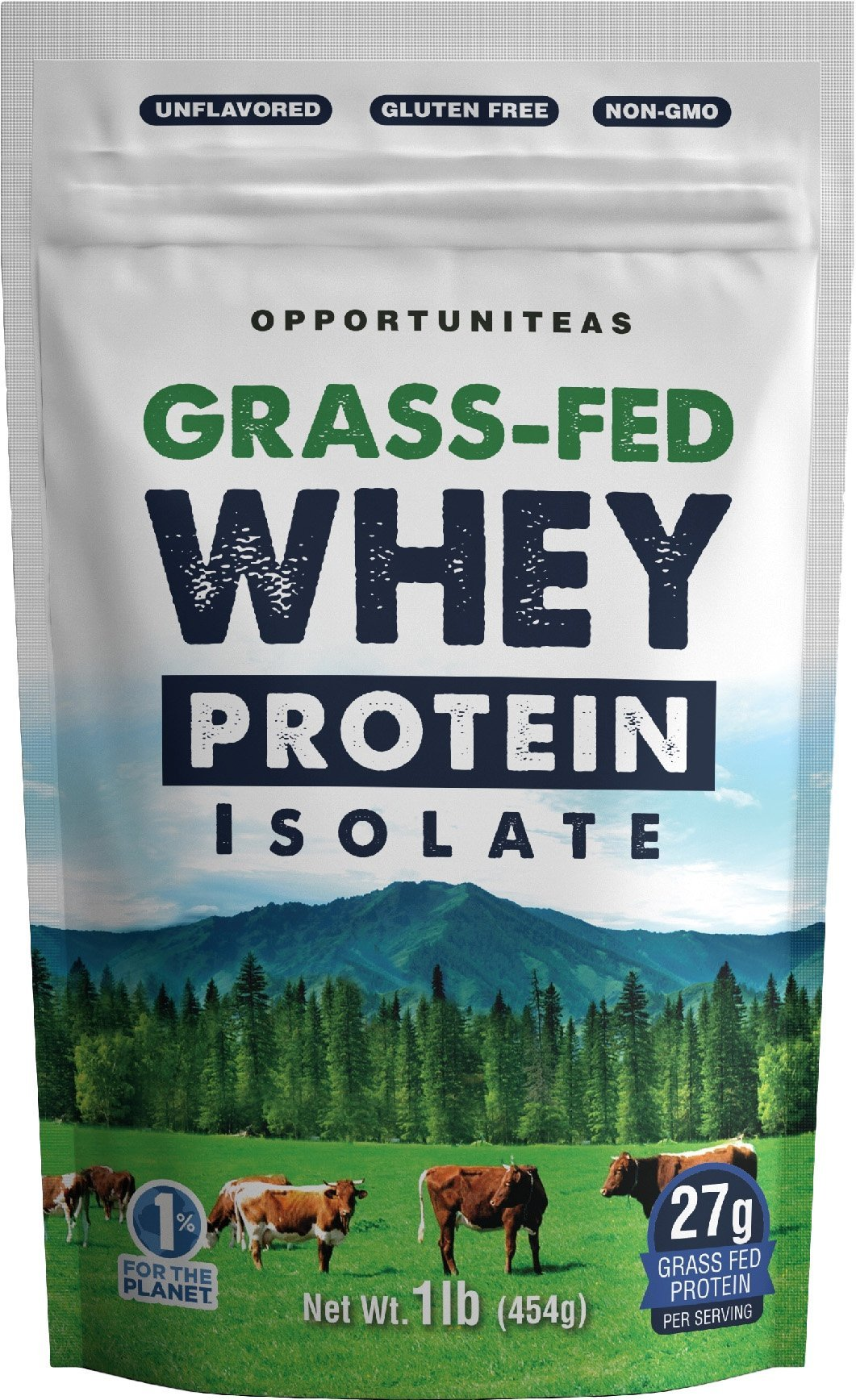 Grass Fed Whey Protein Powder Isolate - Unflavored + Cold Processed + Undenatured - Pure Wisconsin Grassfed Protein For A Shake, Smoothie, Drink, or Food - Natural + Non GMO + No Gluten - 1 pound