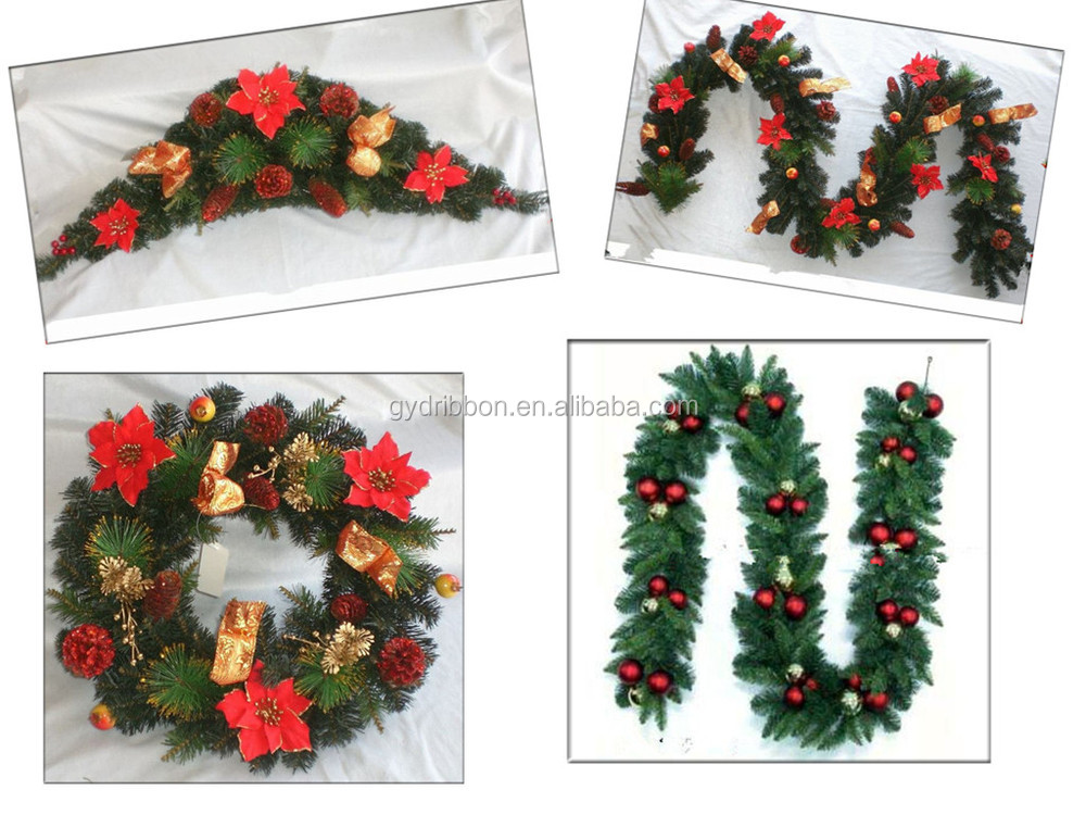 Hot sale ft green pvc christmas tinsel leaf