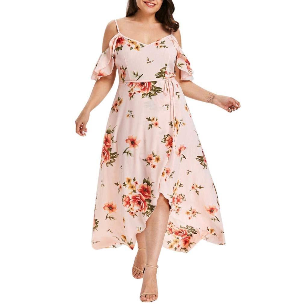 9a3e48d098c91 Get Quotations · Howstar Women s Plus Size Long Dress Sexy Halter Off  Shoulder Floral Print Dresses Elegant Slit Party