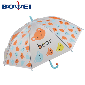 Factory direct sales auto open bear print transparent poe umbrella kids