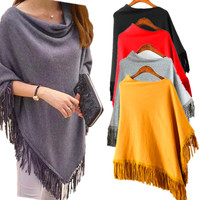 B30486A Europea ethnic fashion spring/autumn women asymmetric turtleneck tassel cape sweater