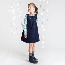New Kids princess party dresses for baby girls Children Navy autumn winter vest style dress High