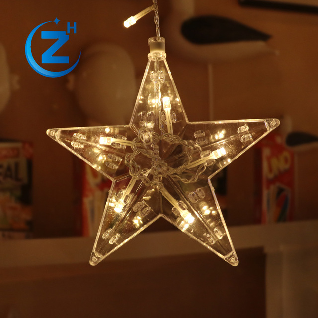 solar battery operated clear wire warm white china factory warerproof star christmas light
