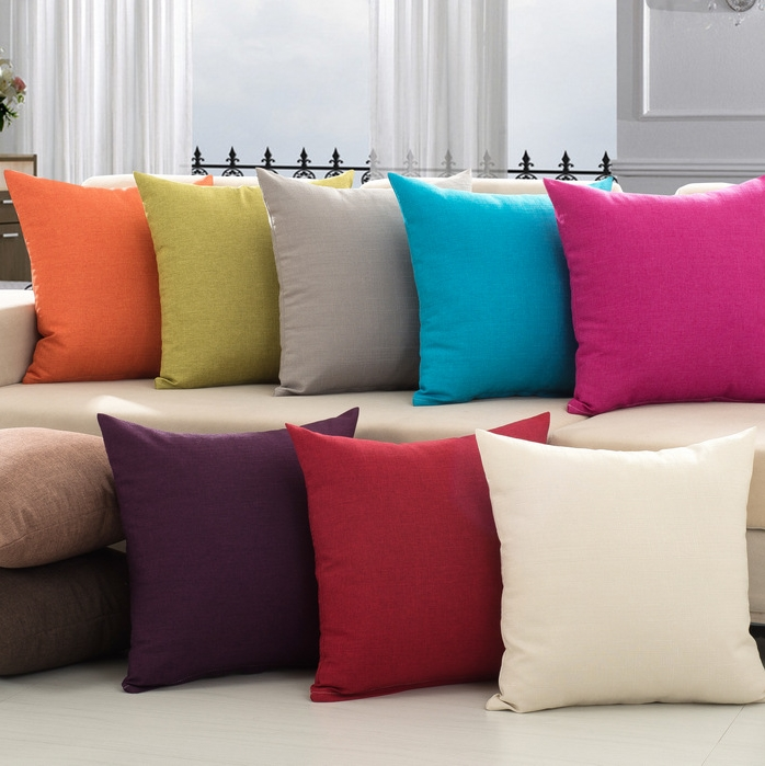 Christmas Sofa Bed Home Decor Solid Colour Cushion Covers Plain Pillow Cases
