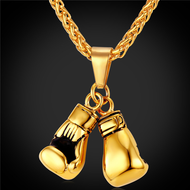 Boxing Glove Pendant Charm Necklace Sport Boxing Jewelry