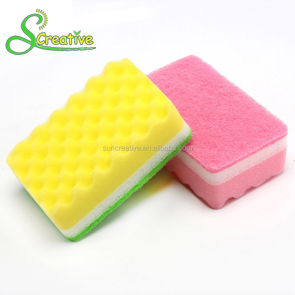 Wave shape dish wash non-abrasive scrubber cleaning sponge
