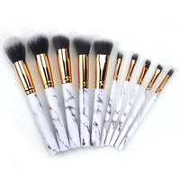 Custom Wholesale 0em Free Sample Marbling 10 Piece Full Makeup Brushes Set