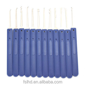New Unlocking Lock Pick Set Key 12pcs Blue Handle Key Extractor Tool with Transparent Practice Padlock