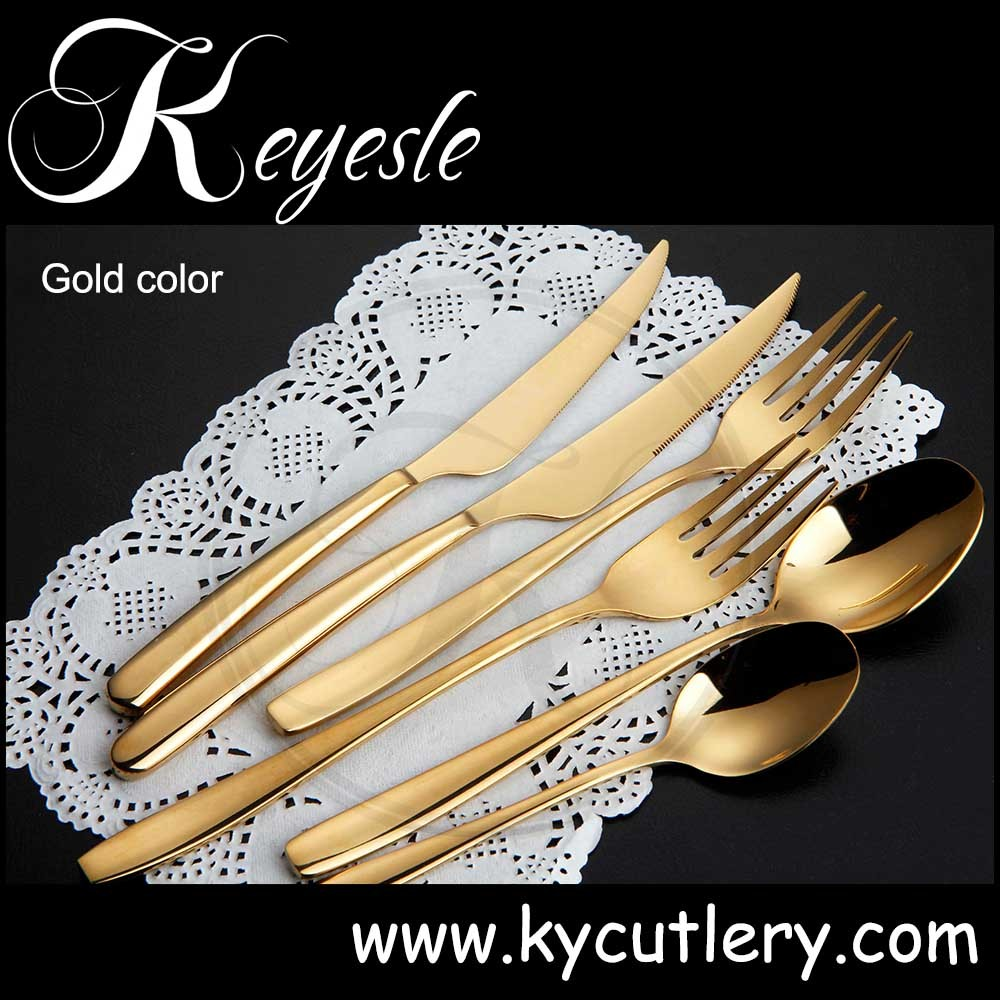 Gold Plated Flatware Sets Bulk Wedding Cutlery Set Whole