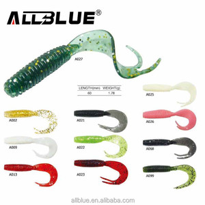 ALLBLUE CY019 Curly Tail Worm Bait 60mm 1.78g Single Tail Soft Fishing Lure Shot Rig Split Tail Lure Fishing