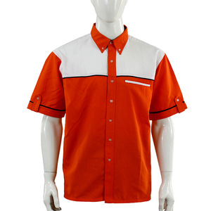 Contrast color orange white short sleeve tab workwear uniform