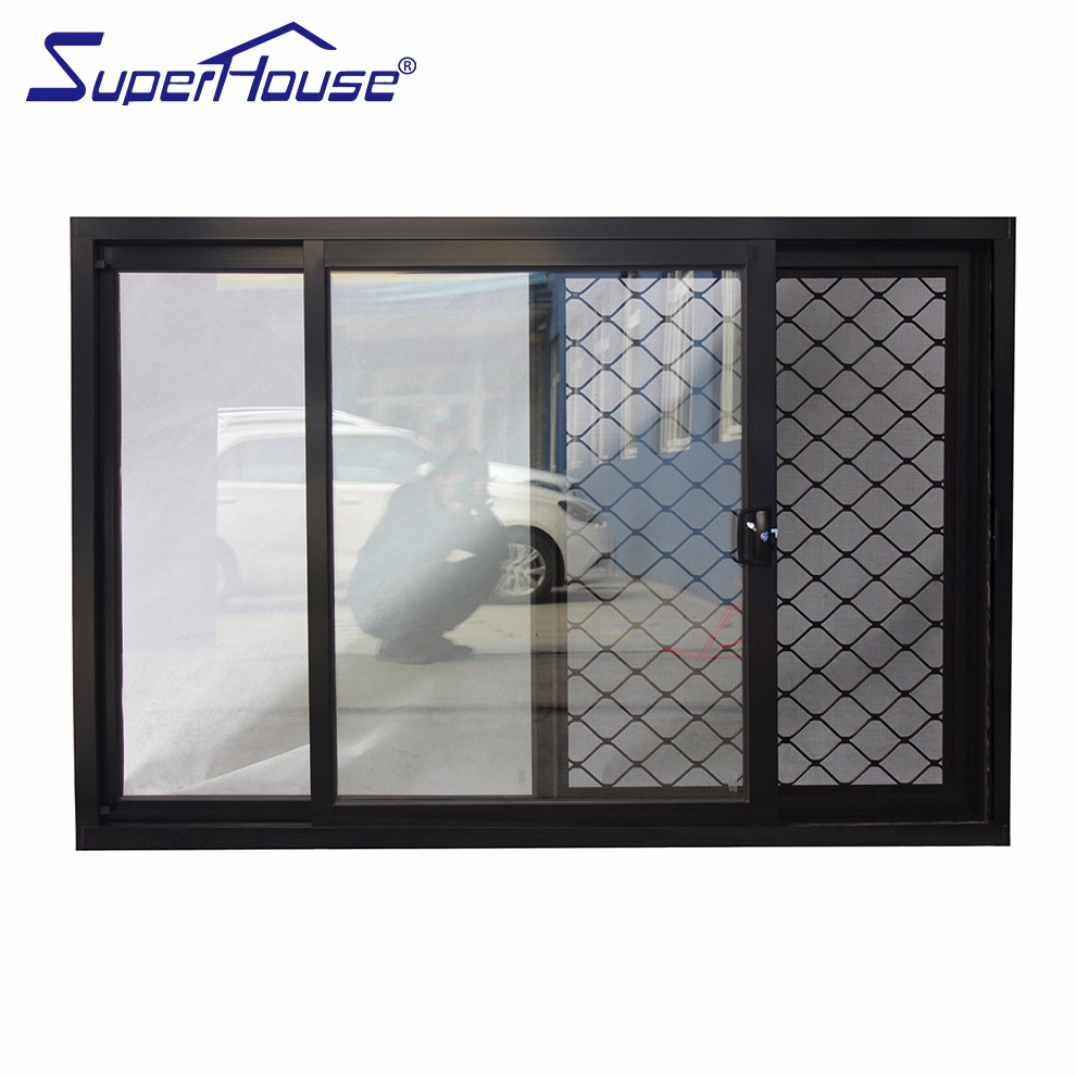 Large Aluminum Sliding Window Black Sliding Window With
