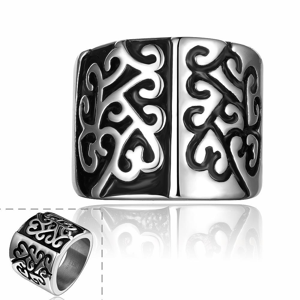 1fdc2730b99a Hombre de 316L de acero inoxidable anillo de acero de titanio grabado flor  Punk Rock clásico